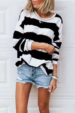 Colorful Long Sleeve Striped Blouse