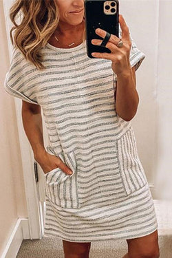 Casual Striped Mini Dress