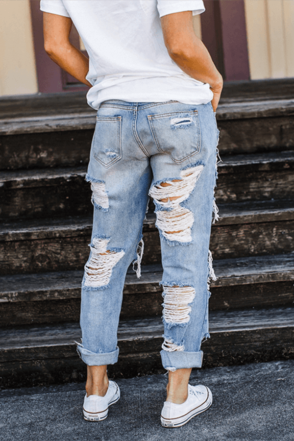 Casual On-trend Ripped Straight Jeans