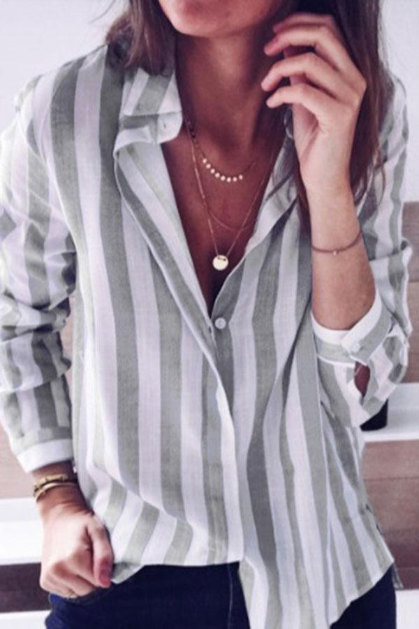 Colorful Striped Buttons Blouse