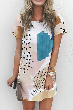 Paint A Picture Leopard Print  Mini Dress