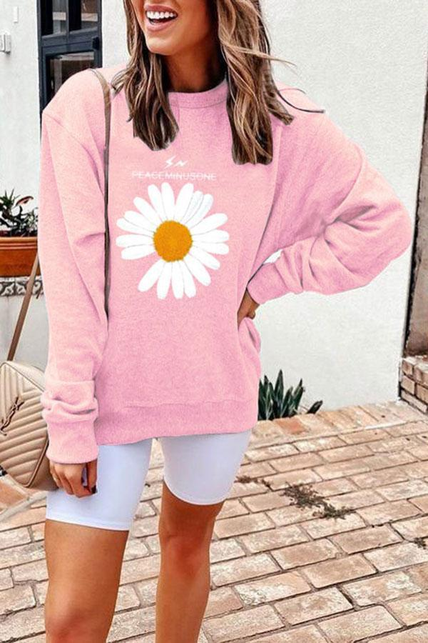 Casual Flower Print Sweatshirt
