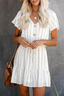 Casual Lace-Up Striped  Buttons Mini Dress