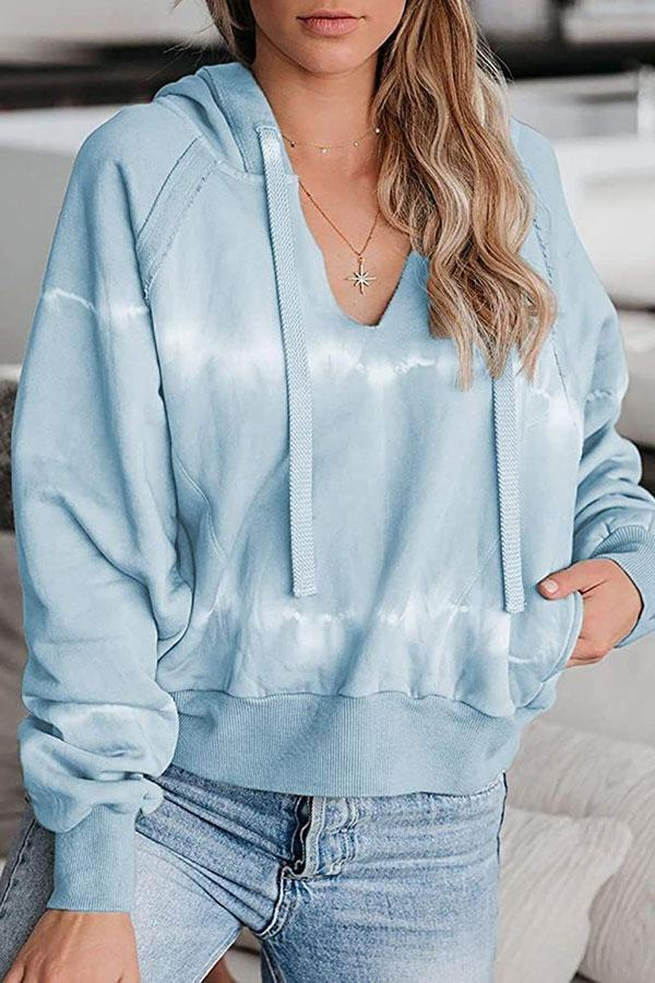 Tie Dye Casual V Neck Hooded Top