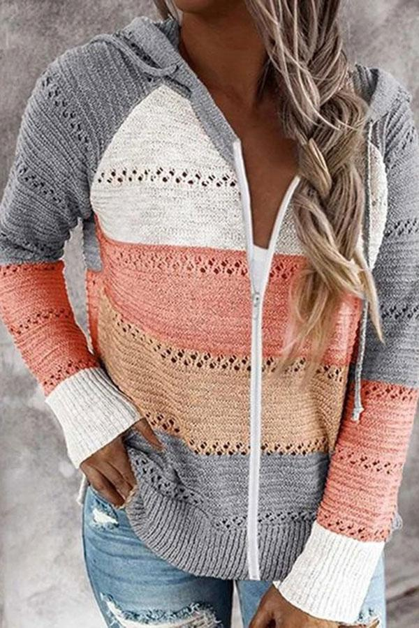 Color Block Casual Cutout Hooded Sweater