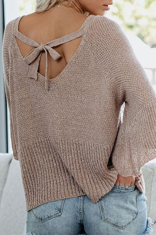 Solid Color Modern Knot-Back Bell Sleeve Sweater