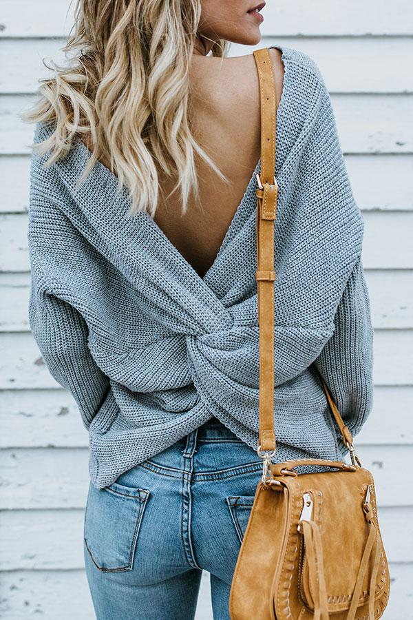 Solid Color Backless Studs Pretty Sweater