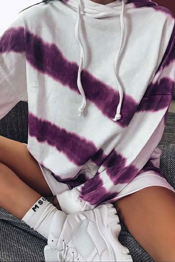 Tie Dye Drawstring Cap Casual Hooded Top