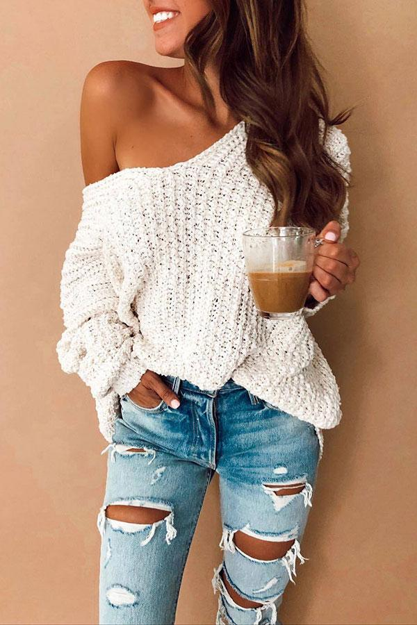 Solid Color Casual V Neck Sweater