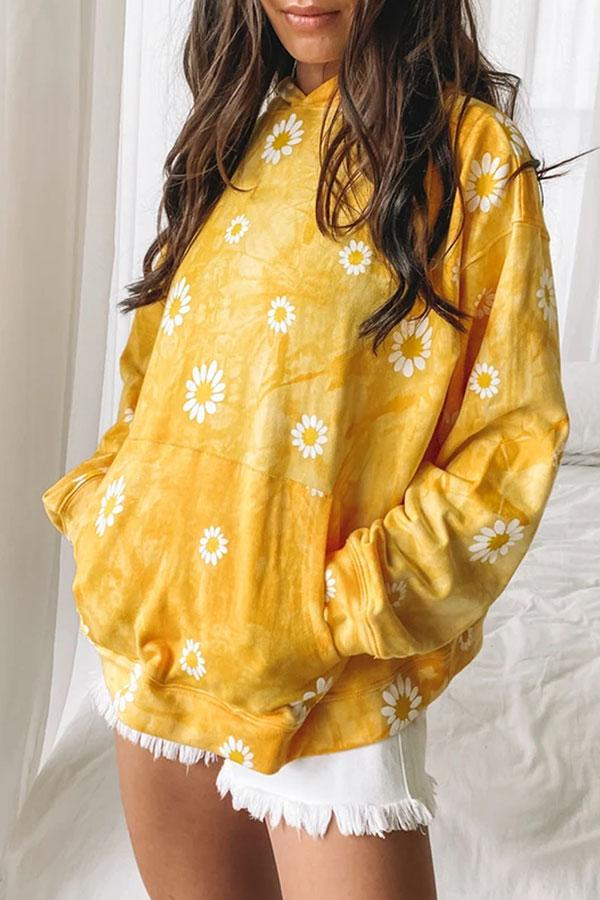 Flower Print Sweet Cap Hooded Top