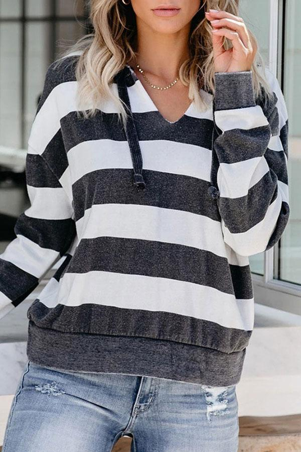 Striped Boho V Neck Hooded Top
