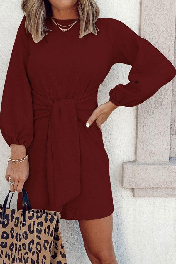 Sexy Solid Color Puff Sleeve Mini Dress