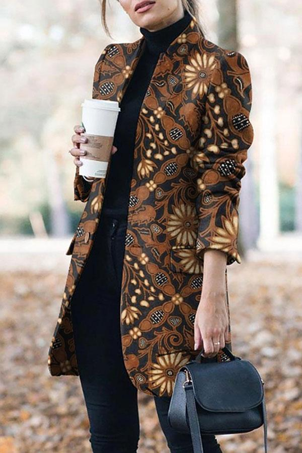 Abstract Print Modern Button Thru Coat