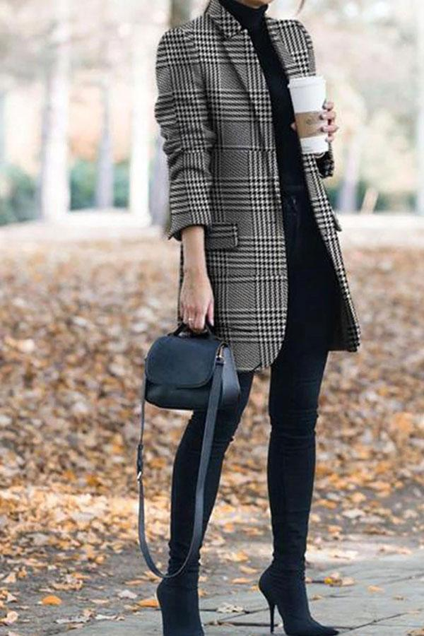 Tartan Elegant Pocket Coat