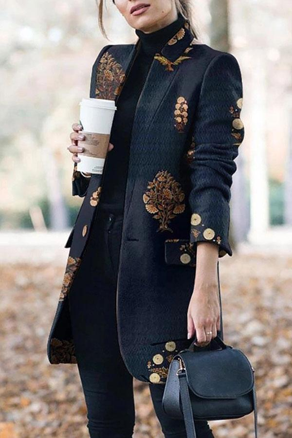 Graphic Print  Modern Button Thru Coat