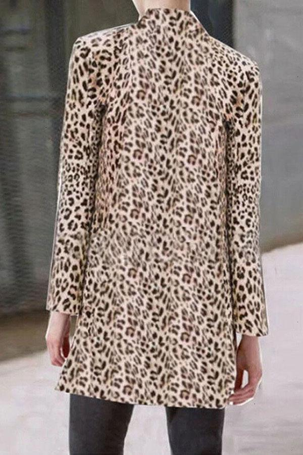 Leopard Print On-trend Stand-Up Collar Coat