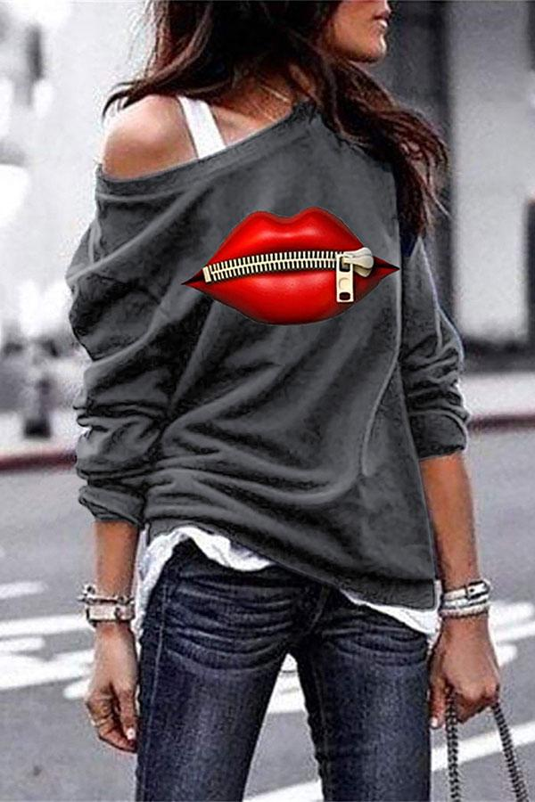 Lip Print Round Neck Girly Sweatshirt