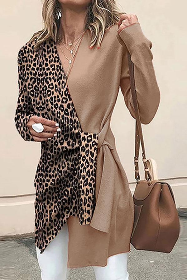 Leopard Print Hit Color Stylish Strappy Coat