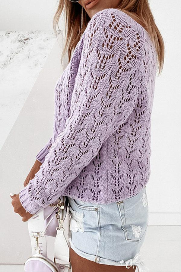 Solid Color Classic Cutout Sweater