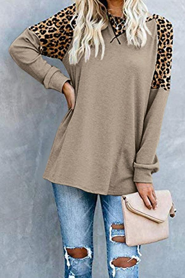 Leopard Print Patchwork Casual Shirt