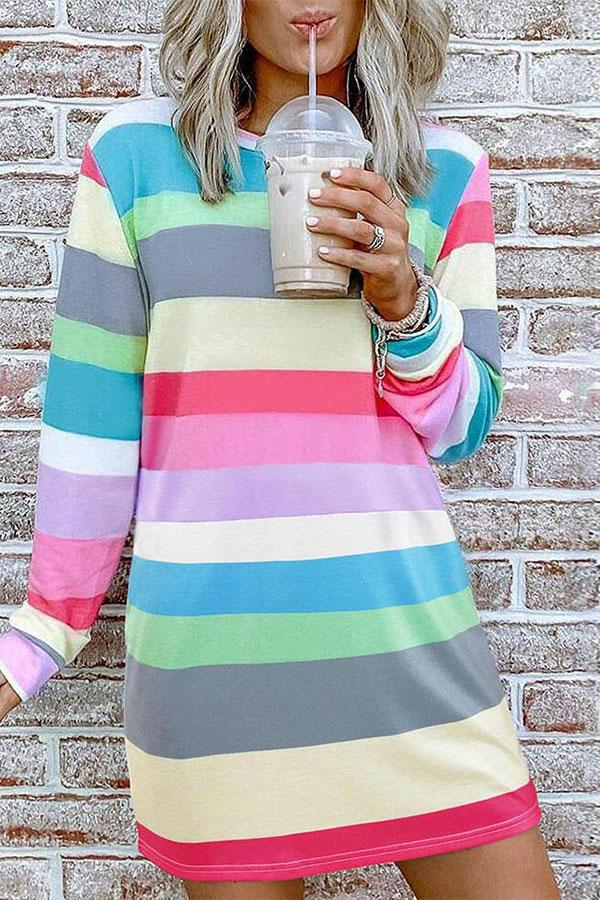 Striped Casual Long Sleeve Mini Dress