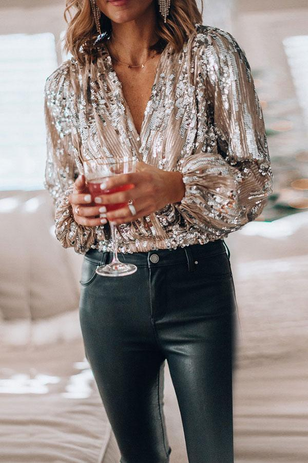 Sequined Pretty V Neck Shirt