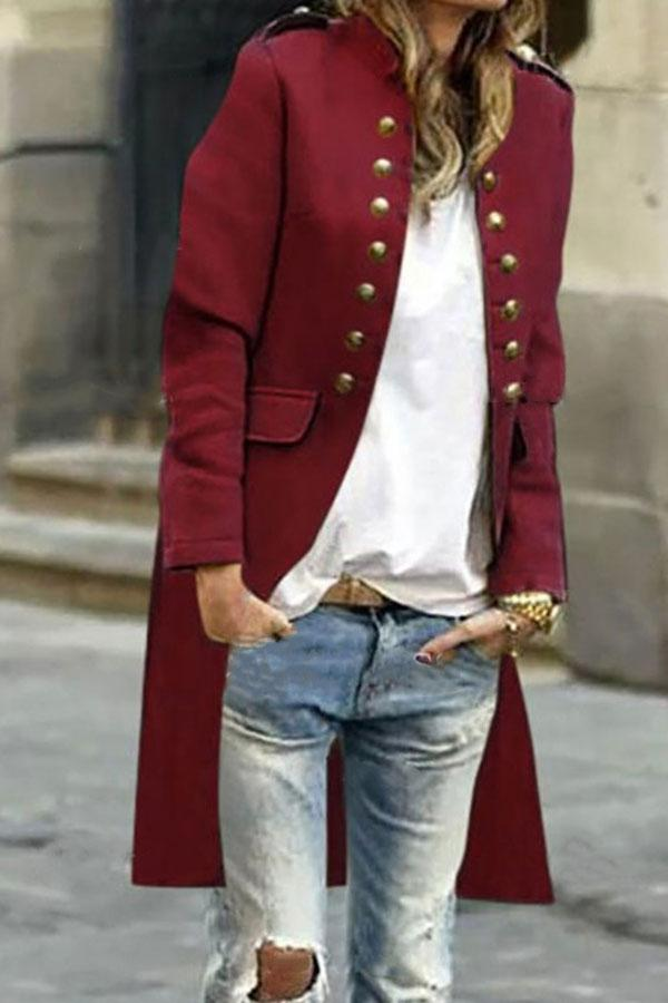 Solid Color Modern Double Breasted Trench Coat