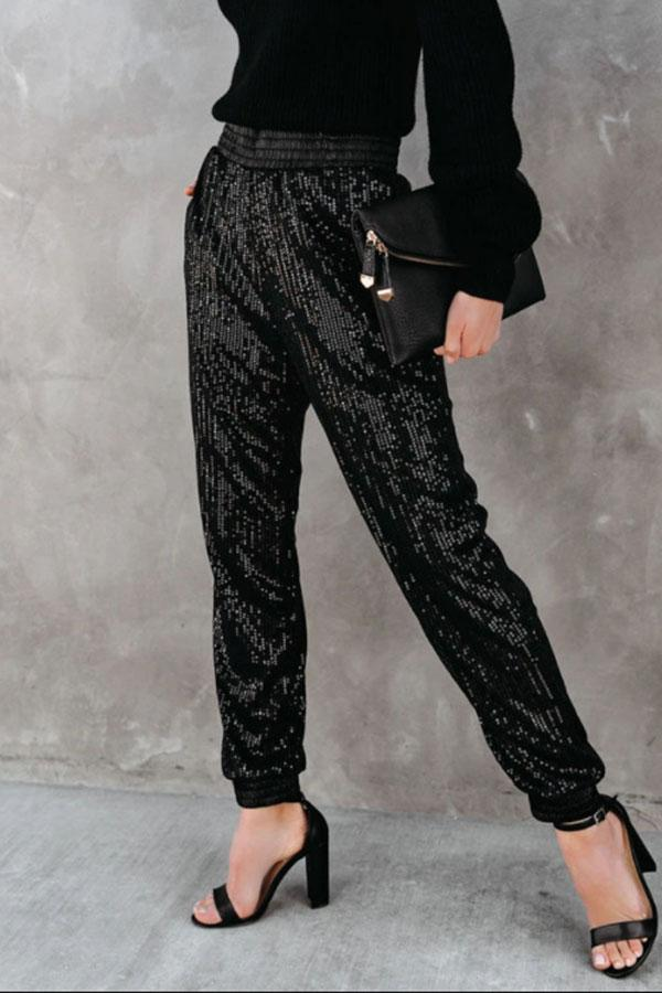 Sequined Elegant Pencil Pants