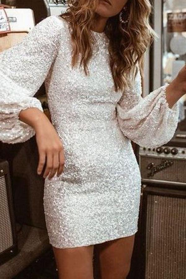 Sequined Stylish Pencil Mini Dress
