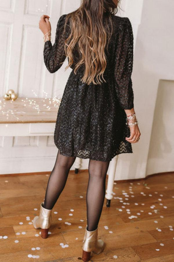 Sequined PrettyV Neck Mini Dress