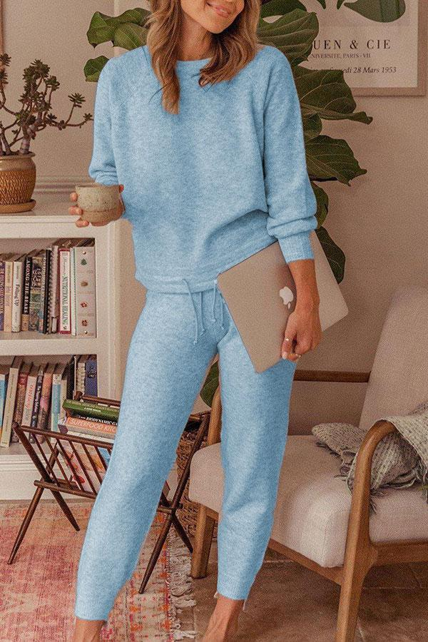 Solid Color Casual Lace-Up Pants Suit