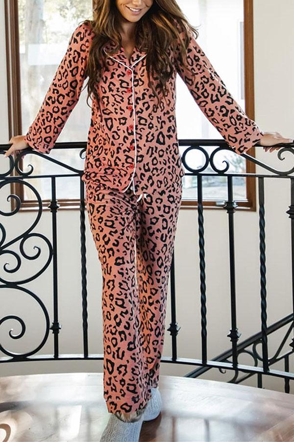 Leopard Print Casual Pants Suit