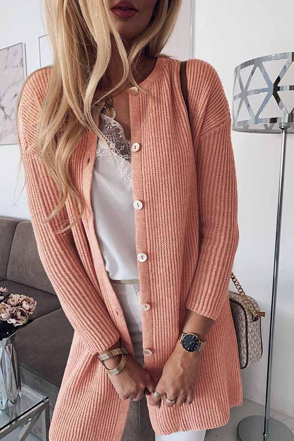 Solid Color Long Sleeve Knitting Sweater