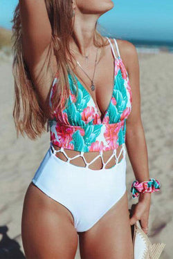 Flower Print Romantic Tailored One Piece Swimwear