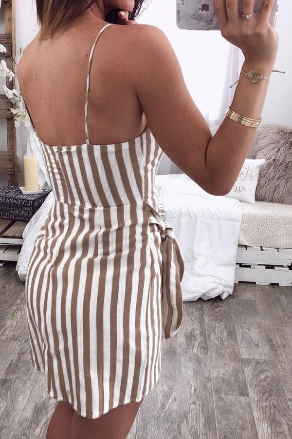 Stripy Smart Wrap Mini Dress