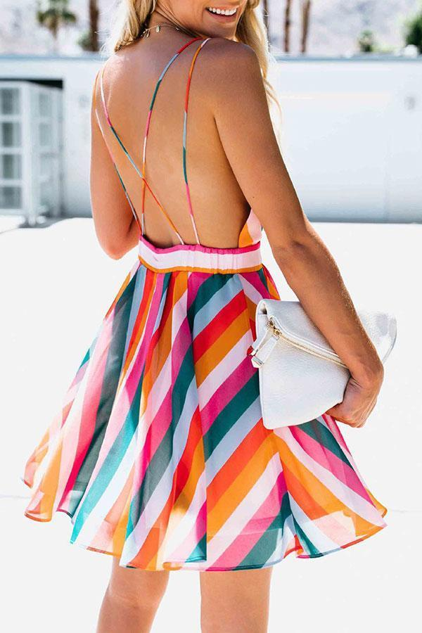 Stripe Stylish Backless Mini Dress