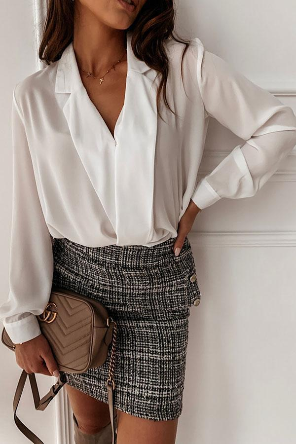 Solid Color Chic Notched Lapel Blouse