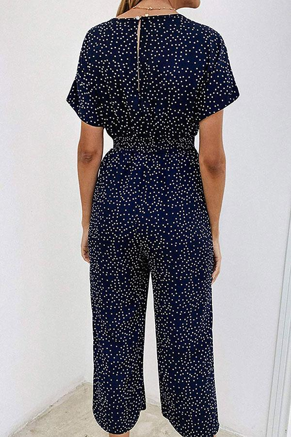 Polka Dot Smart Peasant Jumpsuit