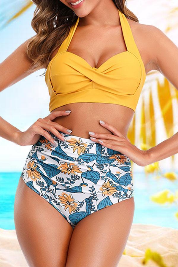 Graphic Print Oriental High Waisted Bikini