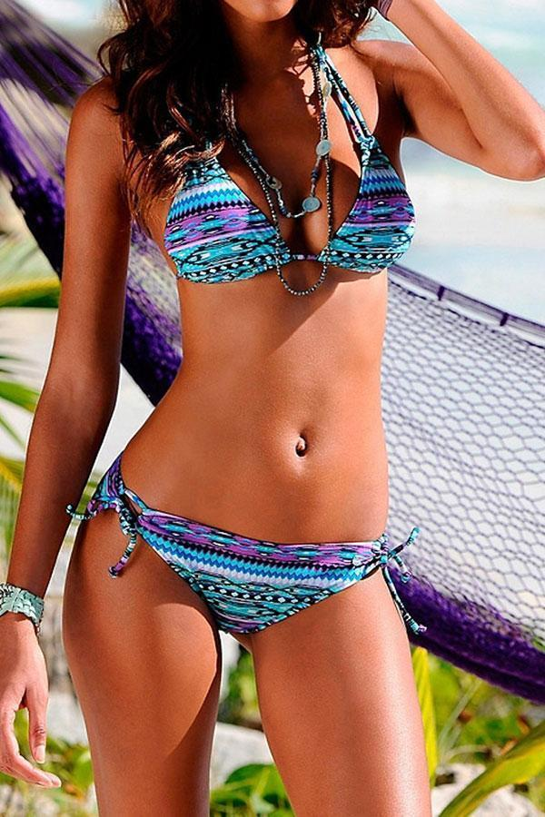 Graphic Print  Bohemia Lace-Up Bikini