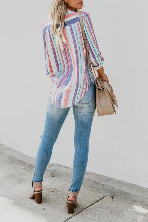 Stripy Urban Single Breasted Blouse