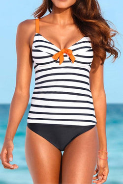 Striped Girly Bow Spaghetti Strap Tankini
