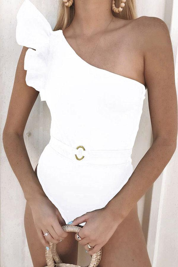 Solid Color Feminine One Shoulder One Piece Swimwear