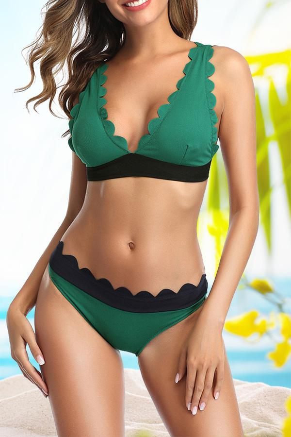 Solid Color Feminine Scalloped  Bikini