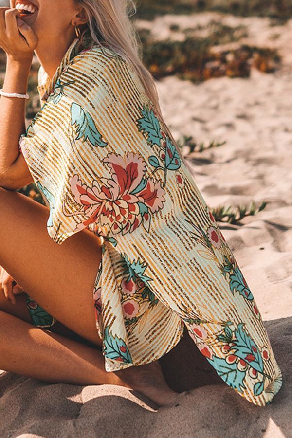 Natural Print Feminine Shirt Collar Beachwear