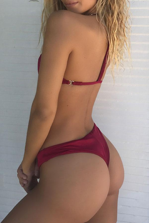 Solid Color Simple Racerback Bikini