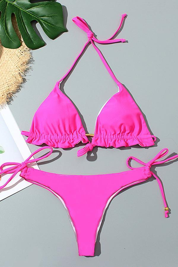 Solid Color Girly Ruffle Lace-Up Bikini
