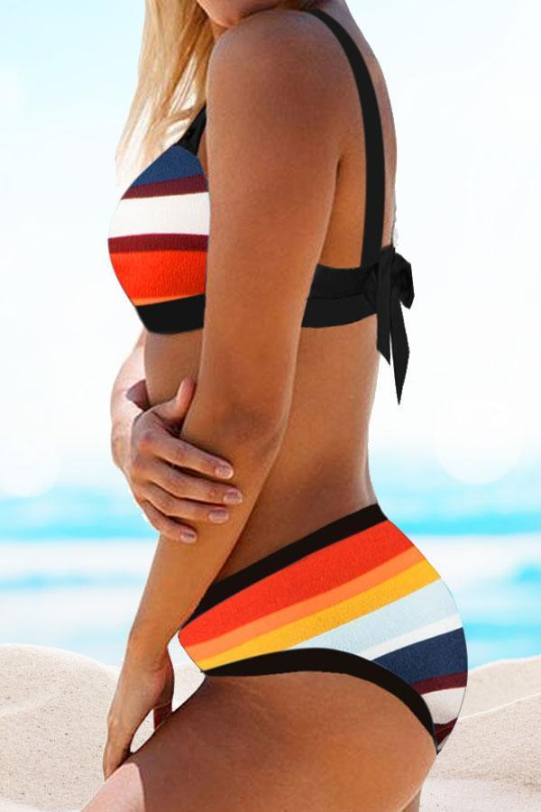 Colorful Stripy Cozy Tie Bikini Set
