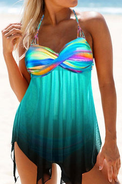 Gradient Twisted Crochet Racerback Irregular Unique Tankini