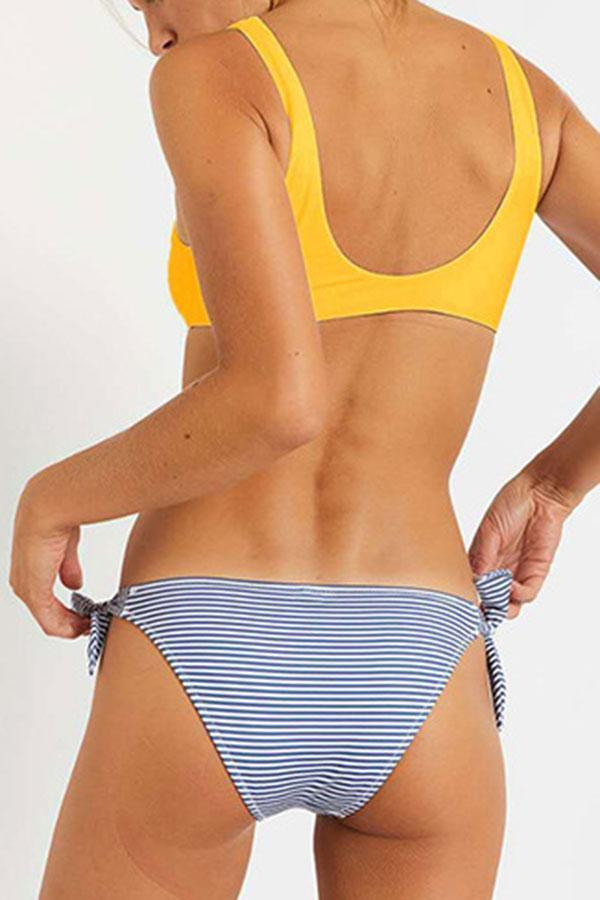 Striped Tie Side Backless Smart Bikini